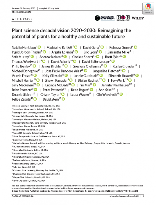 Decadal Vision publication in Plant Direct